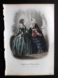 Journal des Demoiselles C1850 Antique Hand Col Fashion Print 26